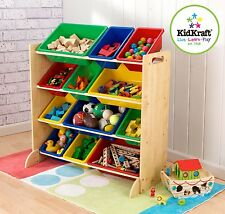 Kidkraft Primary Storage unit | Kids Wooden Toy Box Unit With Plastic Tubs