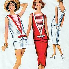 """Vintage 50s TWO PIECE DRESS Skirt SHORTS Sewing Pattern Bust 32"""" Sz 8 RETRO"""