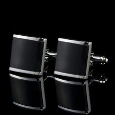Black Stainless Steel Mens Wedding Party Gift Shirt Cuff Links Cufflinks