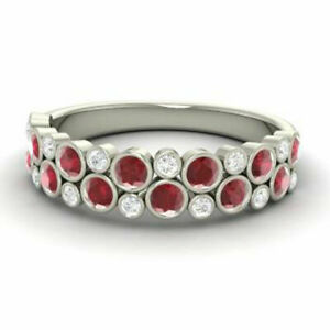 0.91 Ct Natural Diamond Ruby Eternity Bands 14K Solid White Gold Size M N O J K