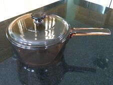 Corning Vision Cookware  2.5 Quart Saucepan Lid France Amber Glass Cooking Stove