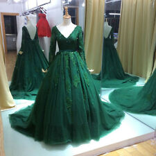 New Green Lace Long-sleeve Wedding gown Quinceanera Pageant dress Prom dresses