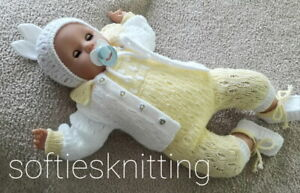 Hand knitted baby pram cardigan romper set / reborn doll outfit 20''-22''