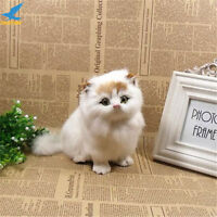 White Cat Plush Toy Simulation Mini Long Animal Doll Baby Gift for Decorations