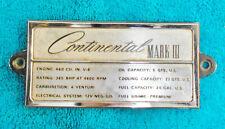1969 1970 1971 Lincoln Continental Mark III ORIG 460 ENGINE DATA ID NAME PLATE