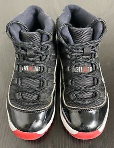 Nike air Jordan 11 retro kids youth black/red bred basketball sneakers size 1Y