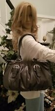 Badgley Mischka pewter gray pebbled leather satchel with silver hardware