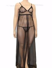 Sexy lingerie, Plus Size  Black Sheer Mesh Gown Sleepwear XXL