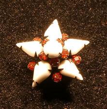 SMALL PETITE STAR BROOCH PIN WHITE WITH ORANGE RHINESTONES BLACK SETTING