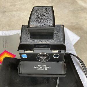Vintage Polaroid Land Camera SX-70 Alpha 1 SE with Leather Case Blue Button