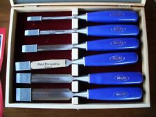 MARPLES Blue Chip Bevel Edge Chisel Set / Storage Box Record Tools Inc. NOS