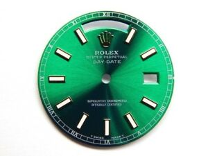 Rolex Men's Day-Date Yellow Gold Green Color Luminous Stick Dial
