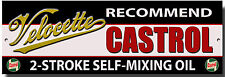 VELOCETTE  RECOMMEND CASTROL 2-STROKE SELF-MIXING OIL METAL SIGN.GARAGE SIGN.