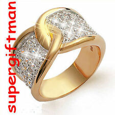 X036 - BAGUE OR DOUBLE AM. / ring goud  DIAMANTS CZ T55