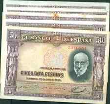 LOT SPAIN 5x 50 PTAS 1935. P 88. VF CONDITION. 1pcv6