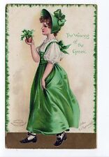 ELLEN CLAPSADDLE PC Postcard IRISH St Patrick's Day IRELAND Wearing of Green
