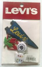 Levi's Patch and Pin set pack Iron on Sew on Jeans Jacket Red Rose Americana