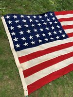 Antique 48 Star. 4.5' X 9' AMERICAN vintage FLAG
