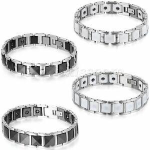 Men's 12mm/13mm Wide Luxury Stainless Steel Ceramic Link Charm Bracelet Chain