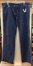TRUE RELIGION Men's Classic Big Stitch Navy Blue Raw Hem Sweat Pants Size Large