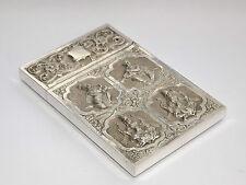 Exquis rare antique asiatique indien 105gms argent massif repoussé card case c1900