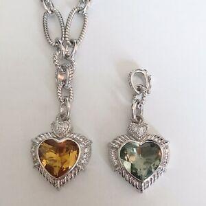 Judith Ripka 925 Sterling Silver Necklace TWO Heart Enhancer Pendants Citrine