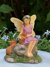 Miniature Dollhouse Fairy Garden ~ Summer's Friend Girl with Rabbits ~ New