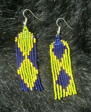 Seed Bead Boho Style Fringe Earrings Blue Yellow Green Earrings Hand Made Glass