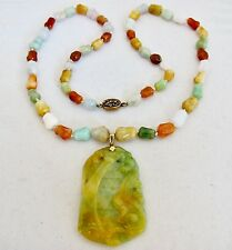"24"" Chinese JADEITE Jade Bead Necklace with 2.65"" Green & Yellow Chilong Pendant"