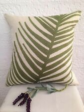Beige Green Tropical Leafy Burlap Home Decor Pillow Cushion Throw Cover 45 cm