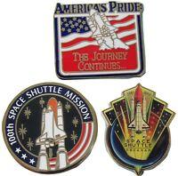 NASA Winco PIN lot of 3 - SPACE SHUTTLE America's Pride - 100 Missions - Program