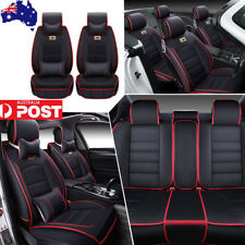 Luxury Universal 5 Seats Car SUV Seat Covers Black&Red Leather Cushion W/Pillows