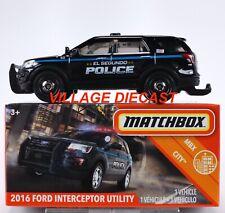 2020 Matchbox Power Grabs #78 2016 Ford Interceptor Utility Black / Police / Mib