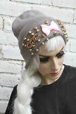 PINK BOW STUD GREY GOLD CHAIN STUDDED WINTER STREETWEAR BEANIE HAT