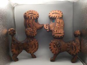 Vintage PAIR Witco Poodles Carved Burnt Wood Retro Wall Art - Blue eyes - 70's