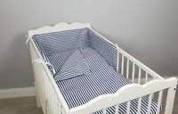 COT BED BEDDING SET 2 ,3, 4 pcs pc navy stripes COTTON padded bumper pillowcase