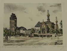 #3521 - Hand Kupferdruck  Darmstadt Russische Kapelle - Jugendstil Hochzeitsturm