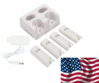 Charger Dock Station + 4X 2800mAh Rechargeable Battery For Nintendo Wii Remote