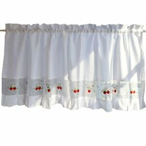 George Jimmy Sweet Strawberry Embroidered Curtain Kitchen Curtain Coffee Scree..