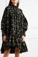 $1559 Cecilie Bahnsen AUTH Pintucked Fil Coupé Poplin Macy Ties Flouncy Dress 6