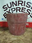 ANTIQUE PRIMITIVE SHAKER WOODEN RED/GRAY PAINTED WOOD SAP BUCKET