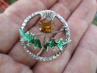 Vintage MIZPAH Scottish  Enamel Amber Glass Thistle Brooch Kilt Lapel Pin Signed
