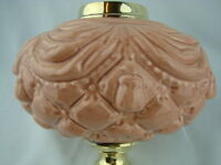 VICTORIAN MOULDED PEACH - PINK OIL LAMP FONT, ART NOUVEAU DECORATION