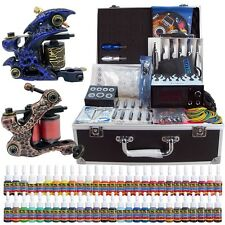 Professional Complete Tattoo Kit 2 Top Machine Gun 54 Ink Power Supply Needle