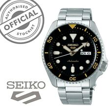 Seiko 5 Sports Black Dial Steel Bracelet Automatic Mens Watch SRPD57K1 RRP £250