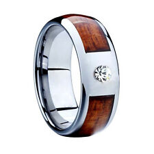 Tungsten Wood Inlay 8MM Silver Lab Diamonds Mens Ring Wedding Band Size 11 M3