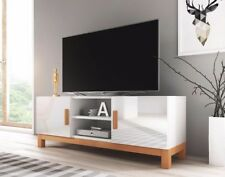 WHITE GLOSS Fronts White Mat TV Cabinet 140 Unit Norge Nordic Scandinavian Wood