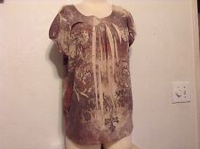 Size PL WOMENS VINTAGE SUSIE BEIGE Floral Print With Bling Blouse, CAP Sleeve
