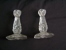 CANDLESTICKS,  CANDLE HOLDERS, GLASS, CRYSTAL, CUT GLASS, PAIR, VINTAGE