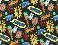 FAT QUARTER  MARVEL DC COMICS FABRIC SUPERHERO ACTION WORDS ZOOM ZAP WHAMM BLACK
